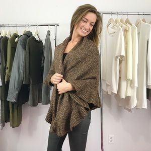 CAbi Brown Cape Sweater Knit Ruffled Shawl Wrap